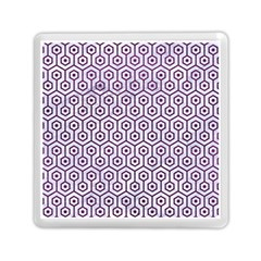 Hexagon1 White Marble & Purple Leather (r) Memory Card Reader (square)  by trendistuff