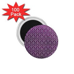 Hexagon1 White Marble & Purple Leather 1 75  Magnets (100 Pack)  by trendistuff