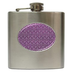 Hexagon1 White Marble & Purple Leather Hip Flask (6 Oz) by trendistuff
