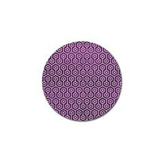 Hexagon1 White Marble & Purple Leather Golf Ball Marker (4 Pack) by trendistuff