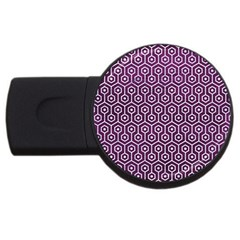 Hexagon1 White Marble & Purple Leather Usb Flash Drive Round (2 Gb) by trendistuff