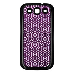 Hexagon1 White Marble & Purple Leather Samsung Galaxy S3 Back Case (black) by trendistuff
