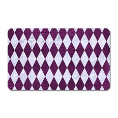 Diamond1 White Marble & Purple Leather Magnet (rectangular) by trendistuff