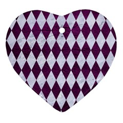 Diamond1 White Marble & Purple Leather Heart Ornament (two Sides)