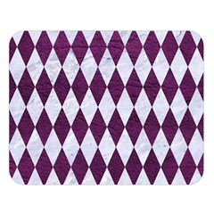 Diamond1 White Marble & Purple Leather Double Sided Flano Blanket (large)  by trendistuff
