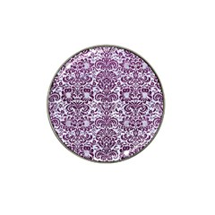 Damask2 White Marble & Purple Leather (r) Hat Clip Ball Marker (10 Pack)