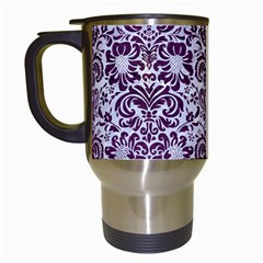 Damask2 White Marble & Purple Leather (r) Travel Mugs (white) by trendistuff