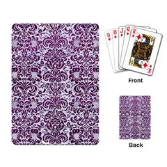 Damask2 White Marble & Purple Leather (r) Playing Card by trendistuff