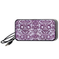 Damask2 White Marble & Purple Leather (r) Portable Speaker by trendistuff
