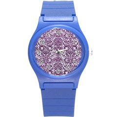 Damask2 White Marble & Purple Leather (r) Round Plastic Sport Watch (s) by trendistuff