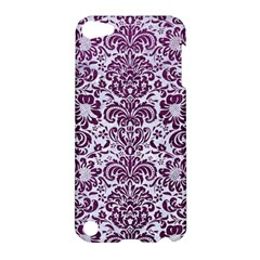 Damask2 White Marble & Purple Leather (r) Apple Ipod Touch 5 Hardshell Case by trendistuff