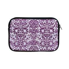 Damask2 White Marble & Purple Leather (r) Apple Ipad Mini Zipper Cases by trendistuff