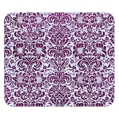Damask2 White Marble & Purple Leather (r) Double Sided Flano Blanket (small)  by trendistuff