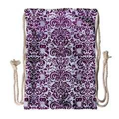 Damask2 White Marble & Purple Leather (r) Drawstring Bag (large) by trendistuff