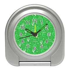Santa Christmas Collage Green Background Travel Alarm Clocks
