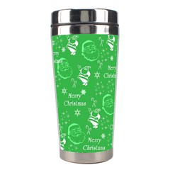 Santa Christmas Collage Green Background Stainless Steel Travel Tumblers