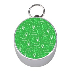 Santa Christmas Collage Green Background Mini Silver Compasses by Sapixe