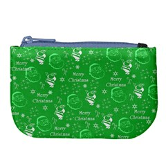 Santa Christmas Collage Green Background Large Coin Purse