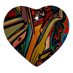 Vivid Colours Heart Ornament (two Sides)