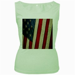 Usa Flag Women s Green Tank Top
