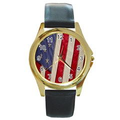 Usa Flag Round Gold Metal Watch