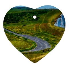 Cliff Coast Road Landscape Travel Heart Ornament (two Sides)