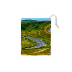 Cliff Coast Road Landscape Travel Drawstring Pouches (xs)  by Sapixe