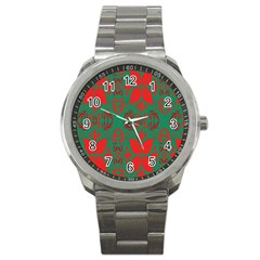 Christmas Background Sport Metal Watch