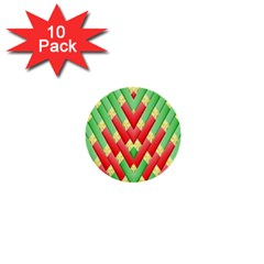 Christmas Geometric 3d Design 1  Mini Buttons (10 Pack)