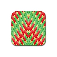 Christmas Geometric 3d Design Rubber Coaster (square)  by Sapixe