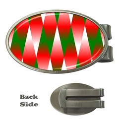 Christmas Geometric Background Money Clips (oval)  by Sapixe