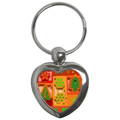 Christmas Design Seamless Pattern Key Chains (heart)  by Sapixe