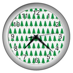 Christmas Background Christmas Tree Wall Clocks (silver)  by Sapixe
