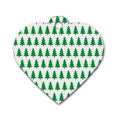 Christmas Background Christmas Tree Dog Tag Heart (two Sides) by Sapixe