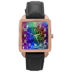Christmas Greeting Card Frame Rose Gold Leather Watch
