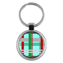 Christmas Plaid Backgrounds Plaid Key Chains (round)  by Sapixe