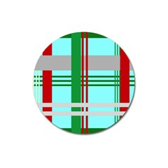 Christmas Plaid Backgrounds Plaid Magnet 3  (round) by Sapixe