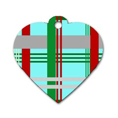 Christmas Plaid Backgrounds Plaid Dog Tag Heart (one Side)