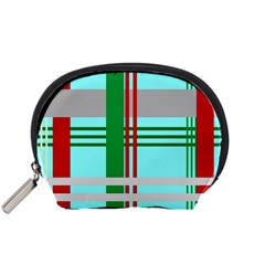 Christmas Plaid Backgrounds Plaid Accessory Pouches (small)  by Sapixe
