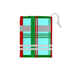 Christmas Plaid Backgrounds Plaid Drawstring Pouches (small)