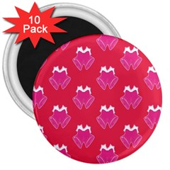 Christmas Red Pattern Reasons 3  Magnets (10 Pack)