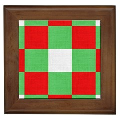 Fabric Christmas Colors Bright Framed Tiles
