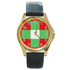 Fabric Christmas Colors Bright Round Gold Metal Watch by Sapixe