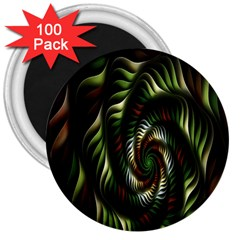 Fractal Christmas Colors Christmas 3  Magnets (100 Pack) by Sapixe