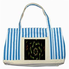 Fractal Christmas Colors Christmas Striped Blue Tote Bag by Sapixe