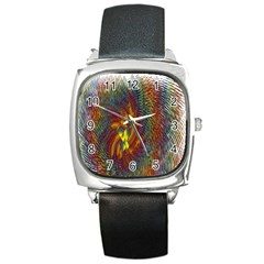 Fire New Year S Eve Spark Sparkler Square Metal Watch by Sapixe
