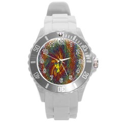 Fire New Year S Eve Spark Sparkler Round Plastic Sport Watch (l)