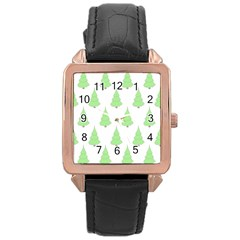 Background Christmas Christmas Tree Rose Gold Leather Watch