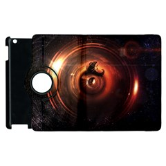 Steampunk Airship Sailing The Stars Of Deep Space Apple Ipad 2 Flip 360 Case by jayaprime