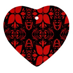 Christmas Red And Black Background Ornament (heart) by Sapixe